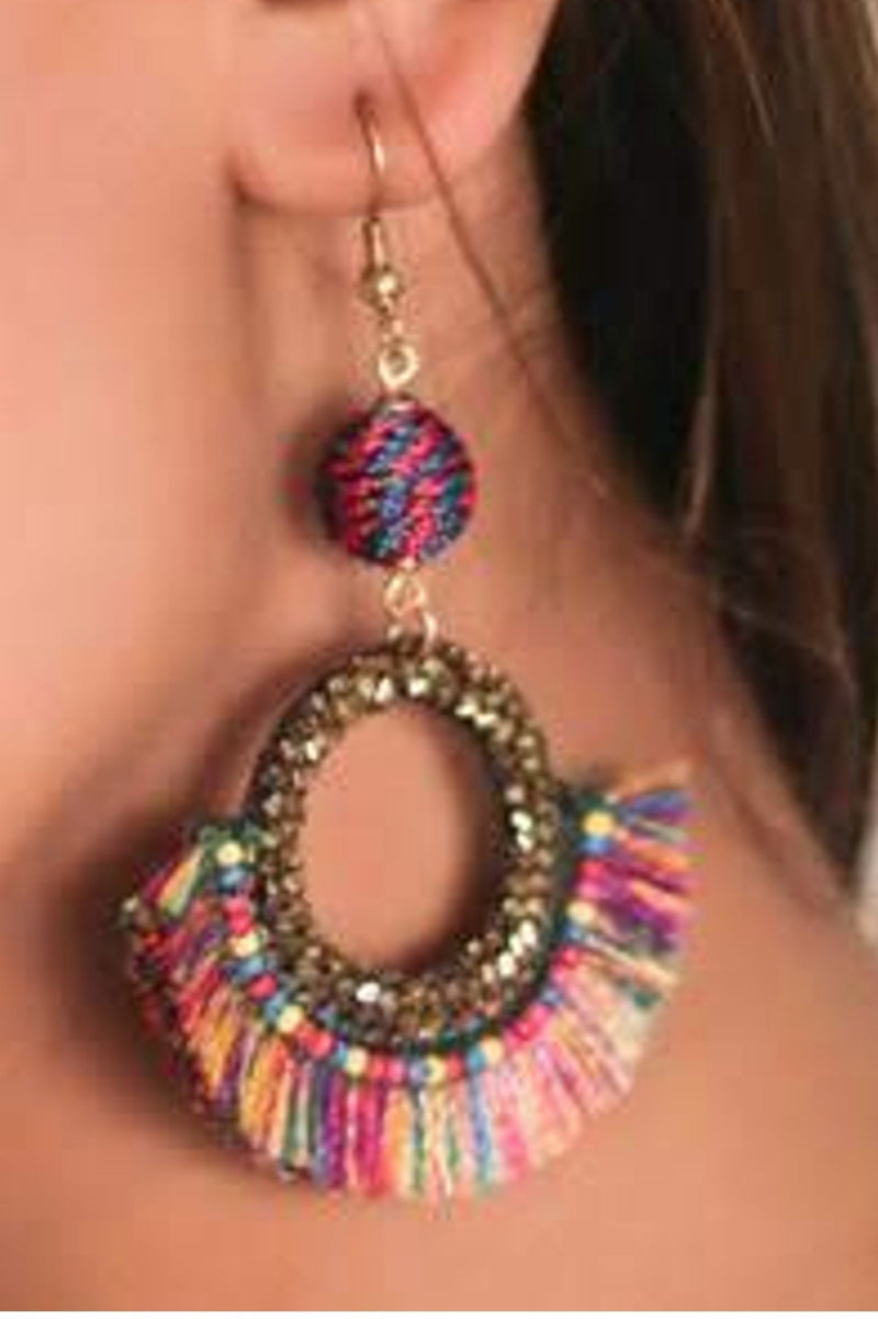 Zoi Stella Orchid Tassel With Multi Color Earring