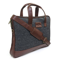 Vegan and Tweed Laptop Messenger Bag - Tanned Grey