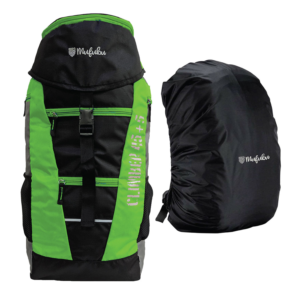Climber 45 + 5 LTR Rucksack with Rain Cover (Black/Green) + BT Neckband FREE