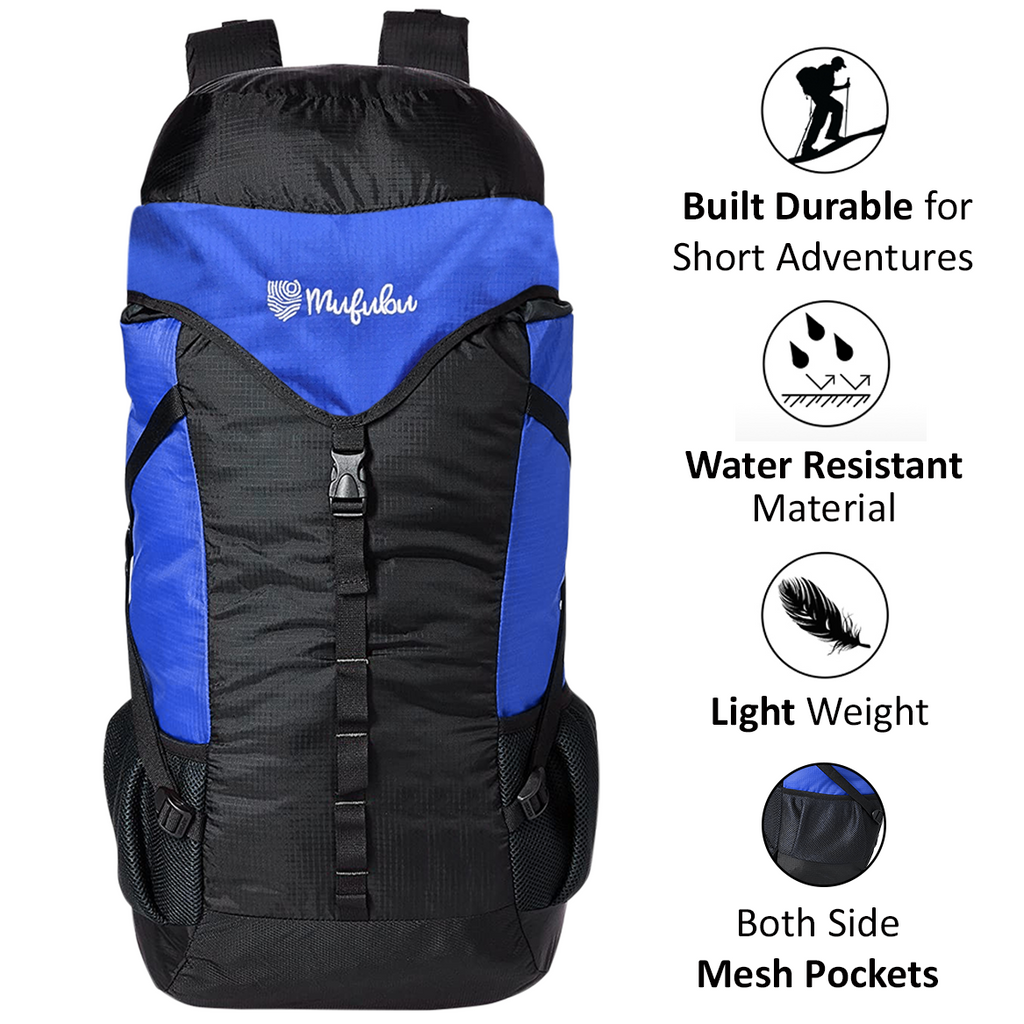 Mufubu Fearless 60 LTR Rucksack Bag - Black + Blue