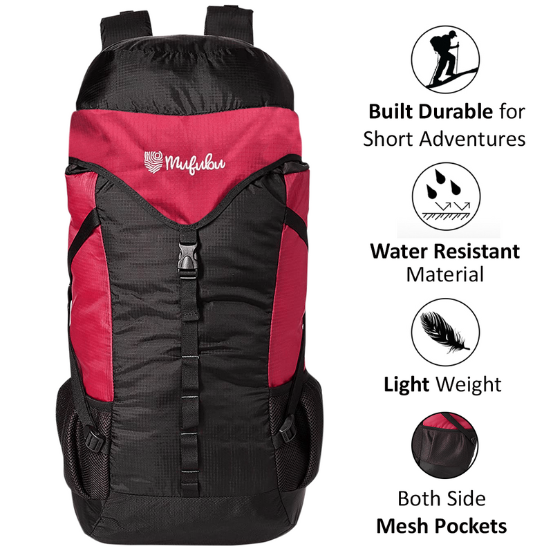 Mufubu Fearless 60 LTR Rucksack Bag - Black +Red