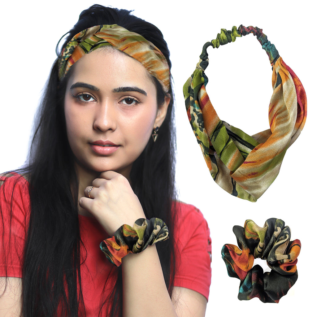 ZOI Satin Twilight Love Scrunchies and Headband