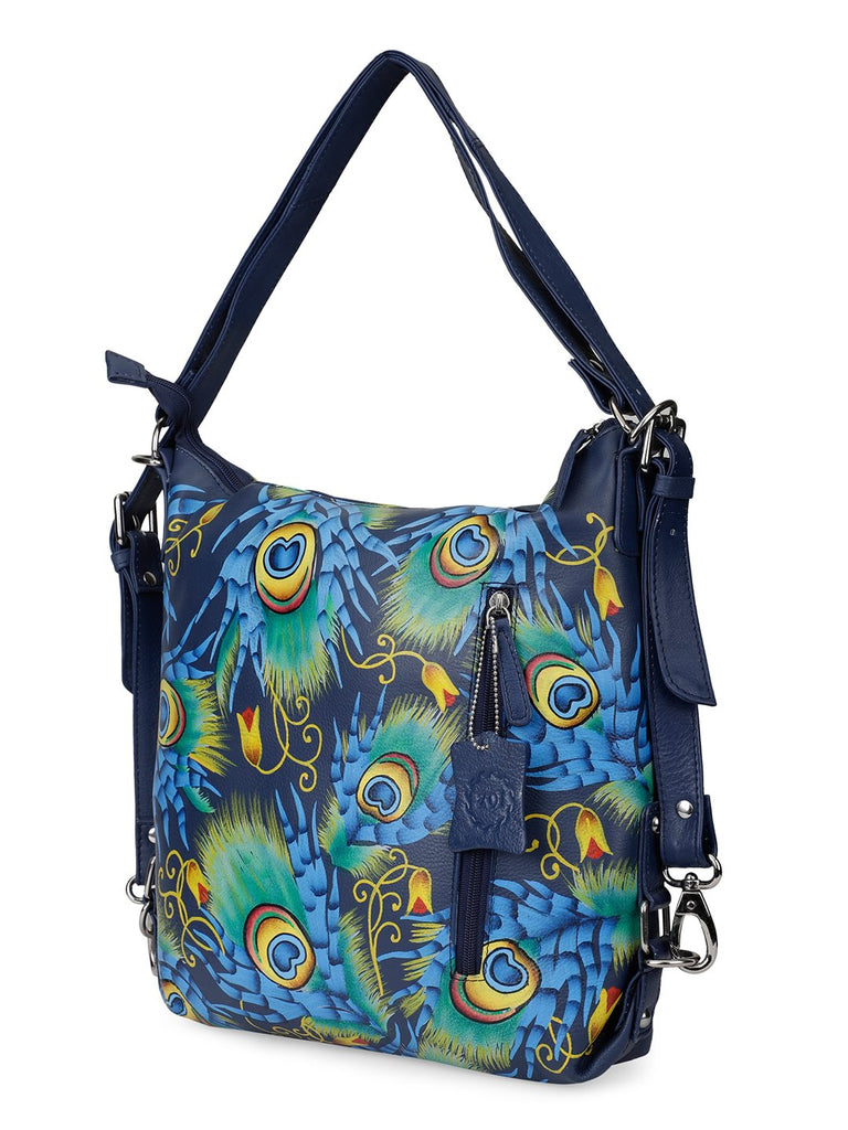 Sling Bag - Peacock Feather Navy Blue