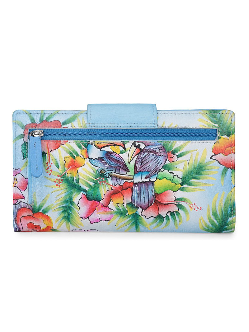 Ladies Wallet - Blissful Birds Sky Blue