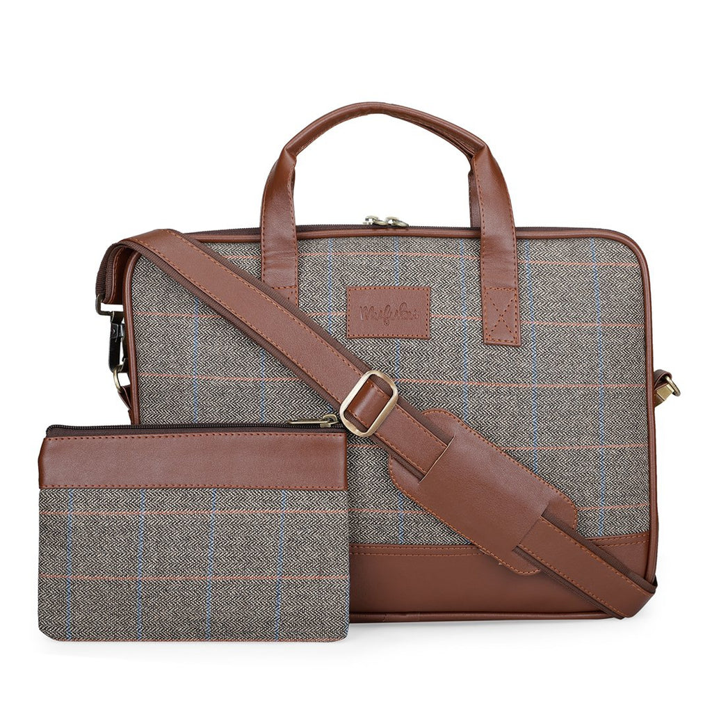 Vegan & Tweed 15.6 Inch Laptop Messenger Bag with Pouch - Subtle Green Checks
