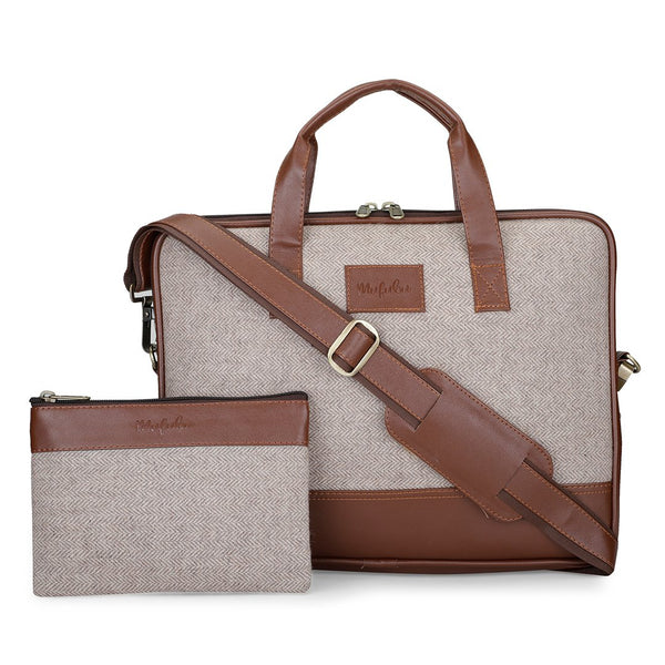 Vegan & Tweed 15.6 Inch Laptop Messenger Bag with Pouch - Old School
