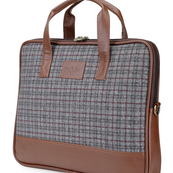 Vegan & Tweed 15.6 Inch Laptop Messenger Bag with Pouch - English Blues