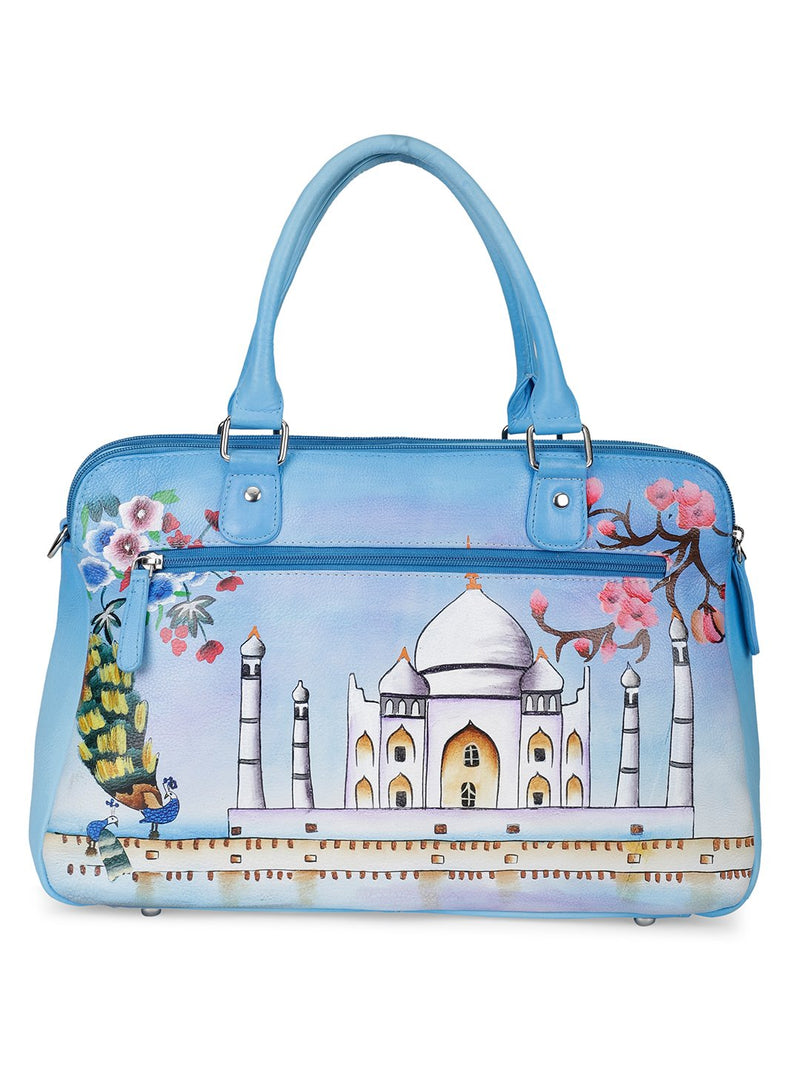 Oversized Hand Bag - Historical Taj Sky Blue