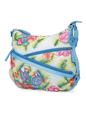 Hobo Hand Bag - Blissful Birds Sky Blue