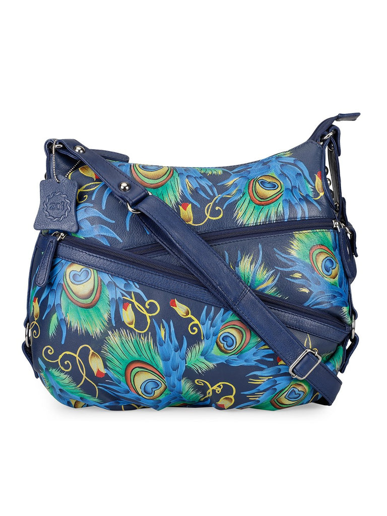 Hobo Hand Bag - Peacock Feather Navy Blue