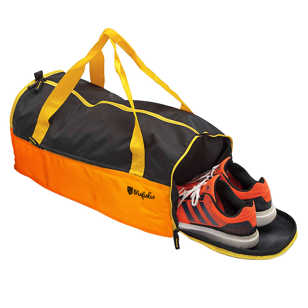Buddys Duffle Gym Bag 32 Ltr - Orange & Black