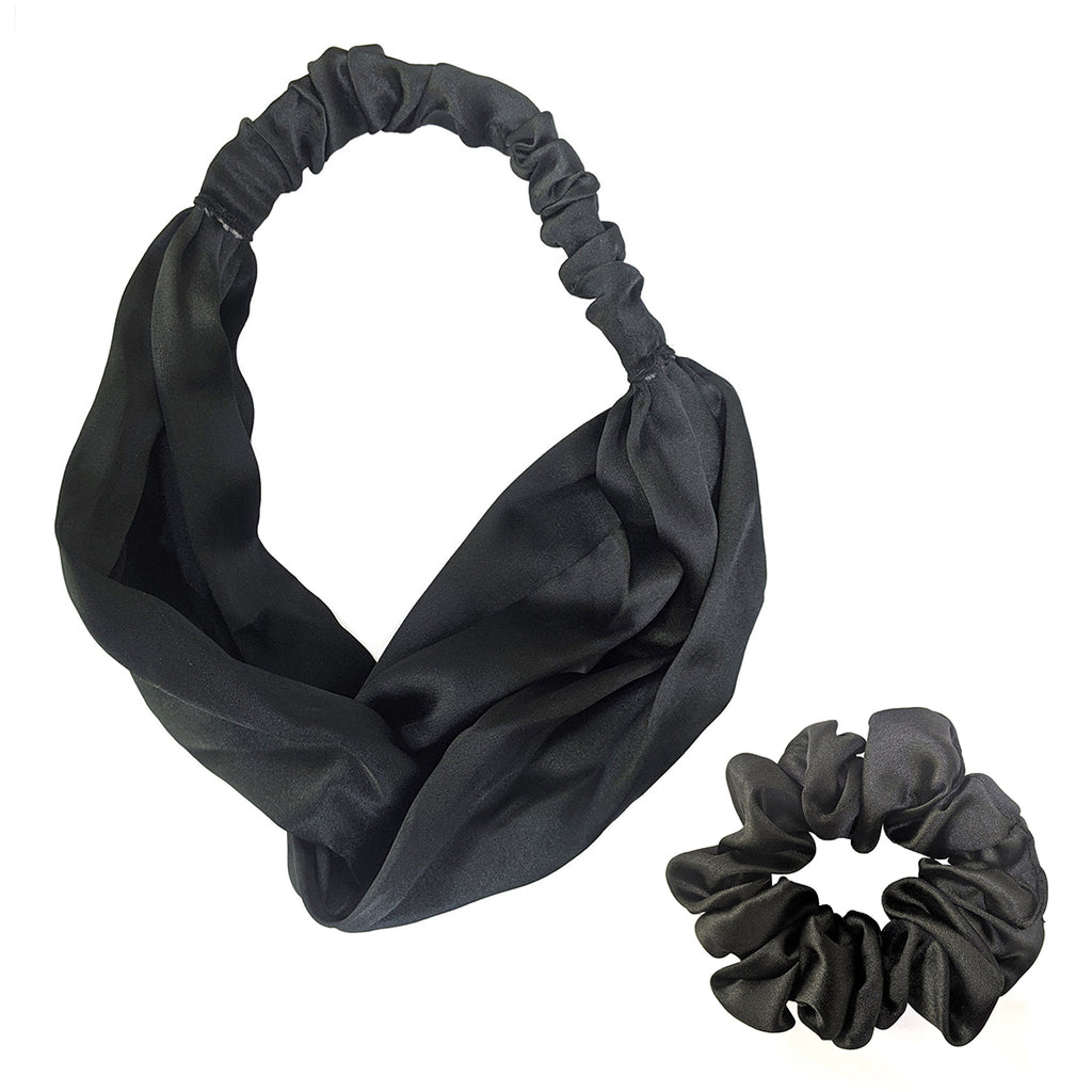 ZOI Satin Noir Black Scrunchies and Headband
