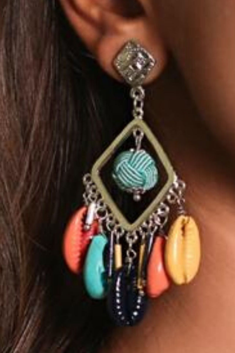 Afro Pop Multi Color Shell Silver Earring
