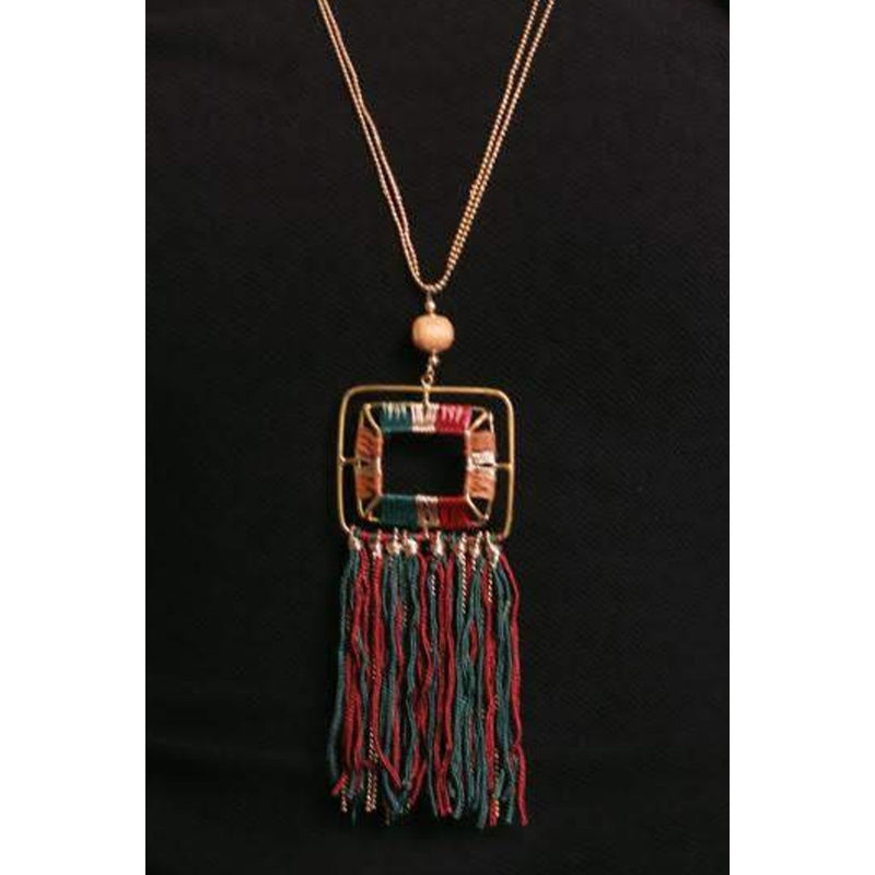 Zoi Raffia Royal Color Thread Fringes With Weaved In Metallic Long Chain