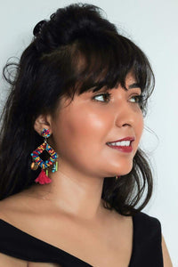 Zoi Stella Solitaire Multi Color Beaded With Single Tassel Earring