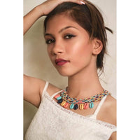 Zoi Afro Pop Layered Multi Color Beads With Shell Necklace