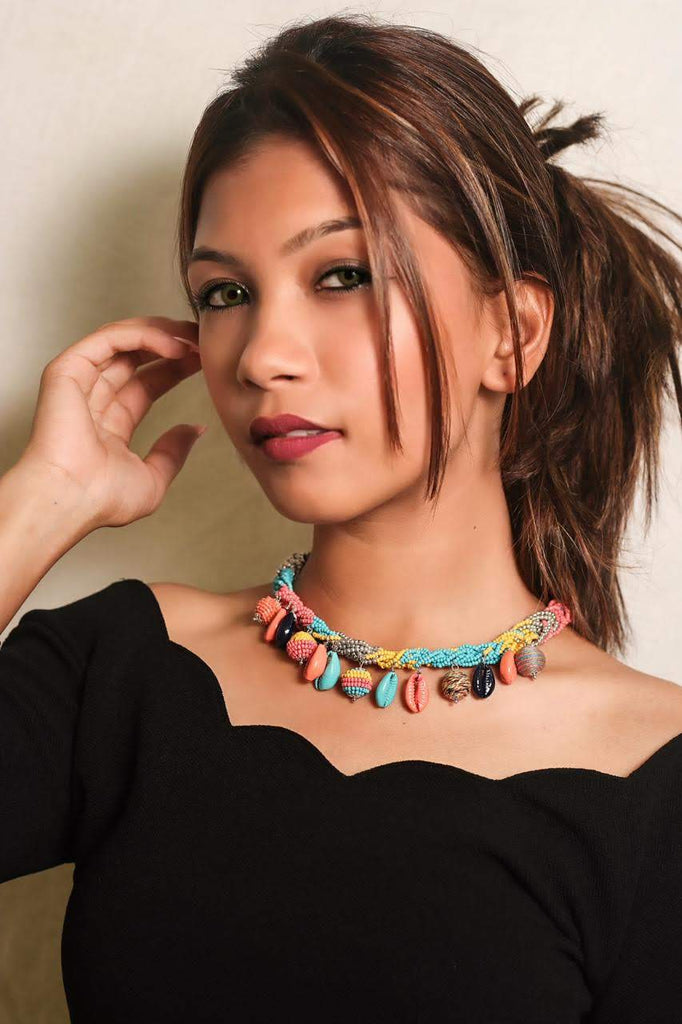 Zoi Afro Pop Braided Multi Color Beads With Shell Necklace