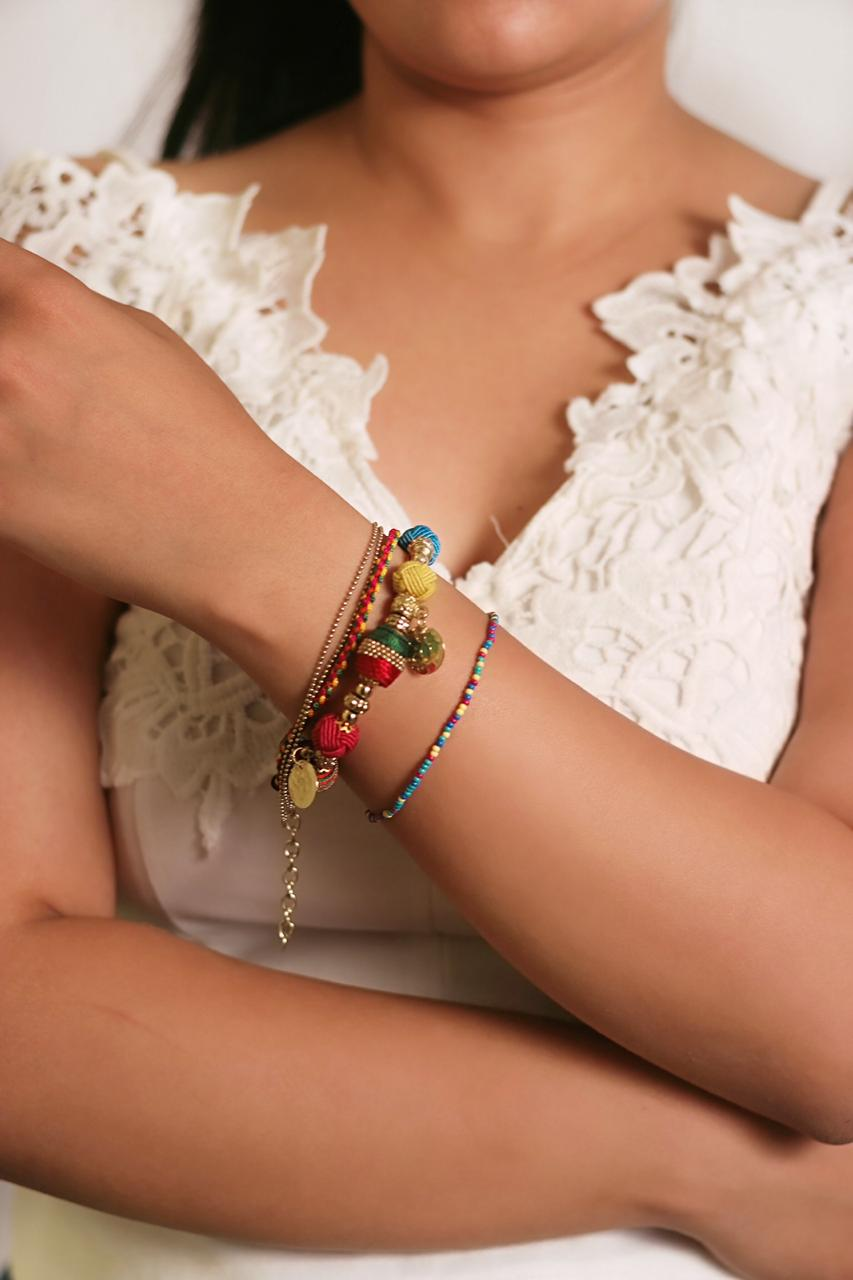 Stella Multi Color Beaded With Metallic Charm 1+5 Layered Bracelet