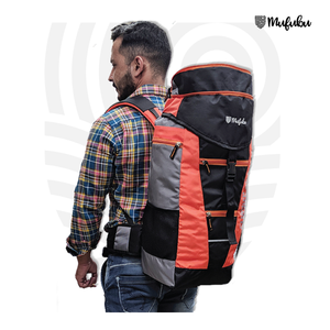 Climber 45 + 5 LTR Rucksack with Rain Cover (Black/Red) + BT Neckband FREE