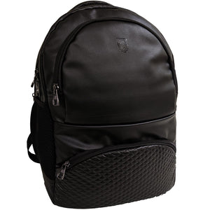 Black German Faux Leather 17 inches Laptop Backpack