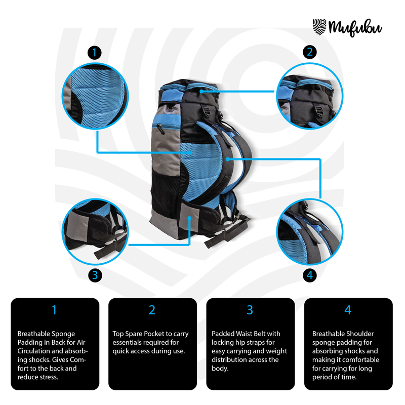 Climber 45+5 Ltr Rucksack with Rain Cover - Black/Blue + BT Neckband FREE