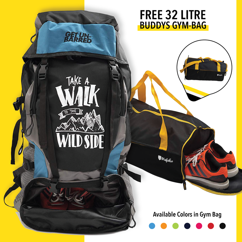 Get Unbarred 55 Litre - Blue + FREE Gym Bag 32 Ltr