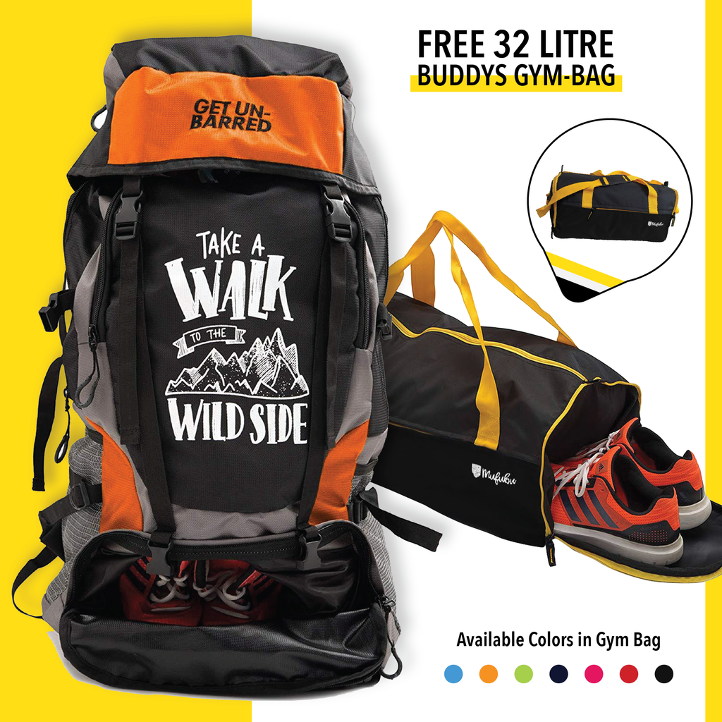 Get Unbarred 55 Litre - Orange + FREE Gym Bag 32 Ltr