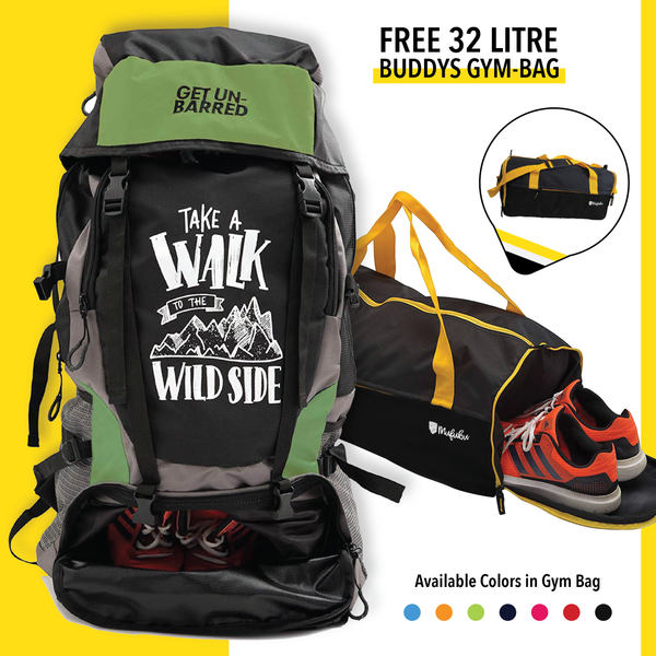Get Unbarred 55 Litre - Green + FREE Gym Bag 32 Ltr