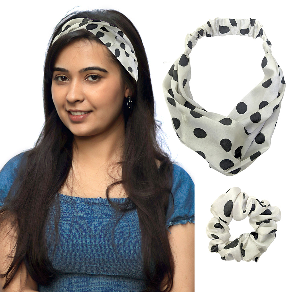 ZOI Satin White Polka Dot Scrunchies and Headband