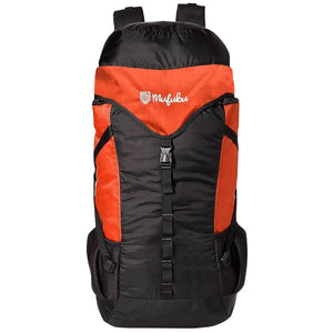 Get Unbarred 55 LTR Rucksack for Trekking, Hiking with Shoe Compartment (Black/Orange)