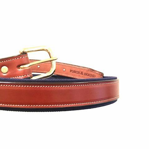 Canvas and leather belt - Oak Bark and Navy