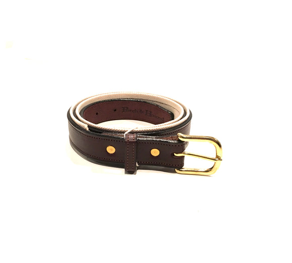 Canvas and leather belt - Havana and Natural