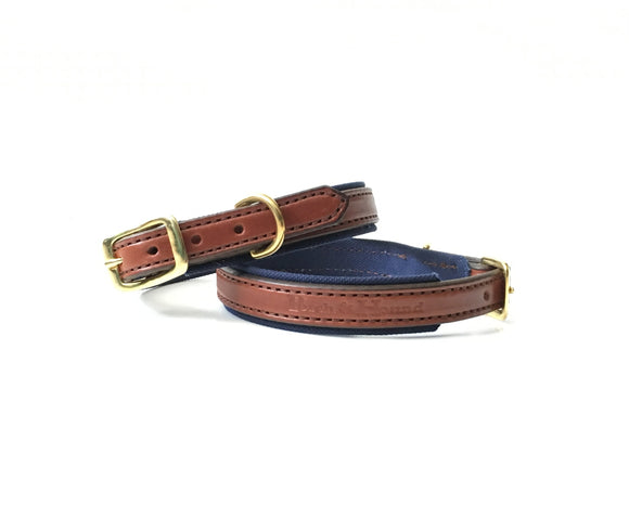 Dog Collar - Oak Bark and Navy