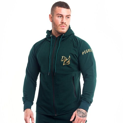CONQUER ZIP HOODY FOREST GREEN | Hoodies & Jackets | Pegasus Athletic