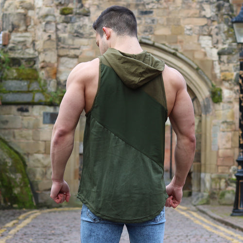 TRI-PANEL CUT OFF HOODIE KHAKI GREEN | Pegasus Athletic