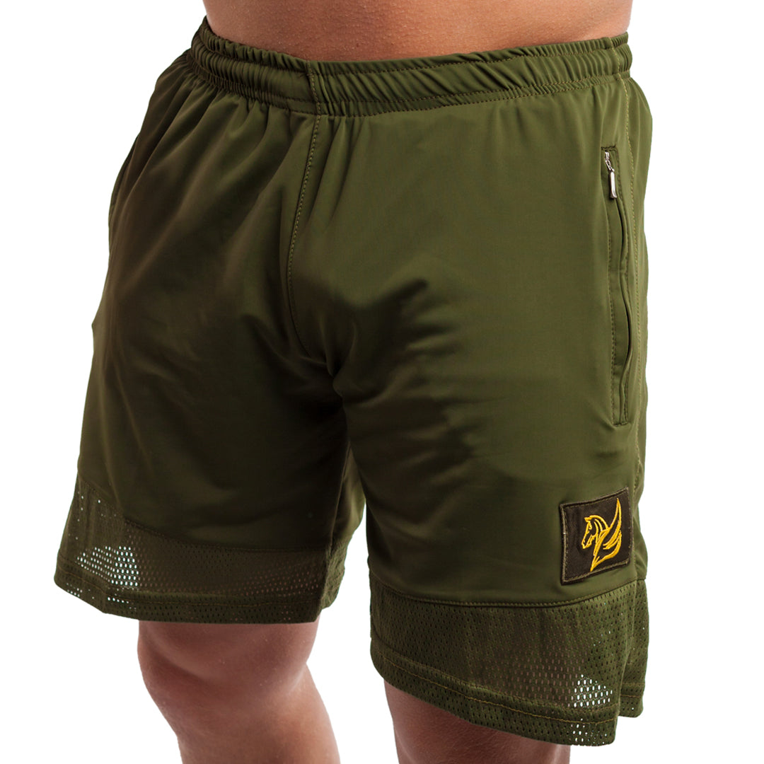 TRAINING SHORTS KHAKI GREEN | PERFORMANCE SHORTS | PEGASUS ATHLETIC