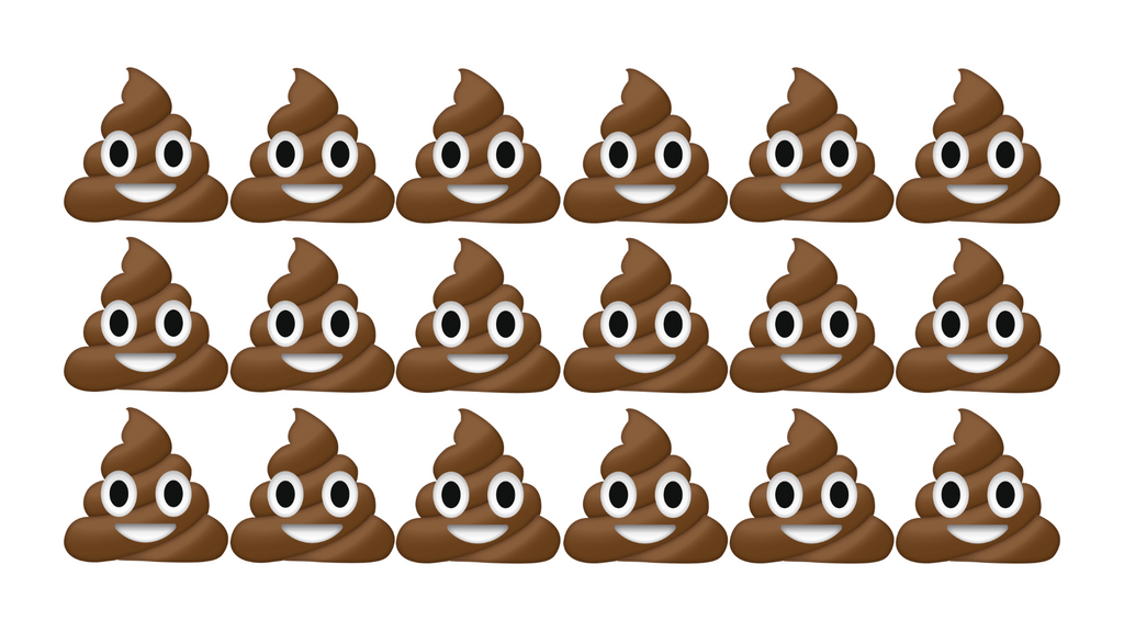 Poop emojis lined up in rows