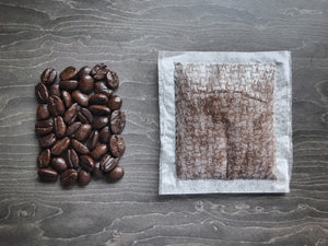 Coffee Bags. Freshly roasted and ground coffee beans in a bio-web bag which brew like a tea bag.