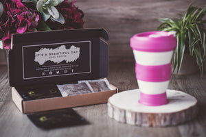 Coffee Bag Subscription Box. Pink pokito cup.