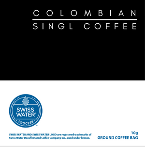 Image is split into 2 halves. A black colombian top half. and a white swiss water decaf bottom half.