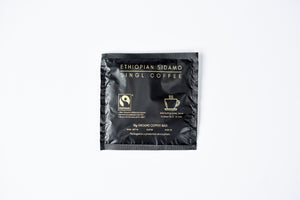 Ethiopian Sidamo Coffee Bag. Black and Gold Print.