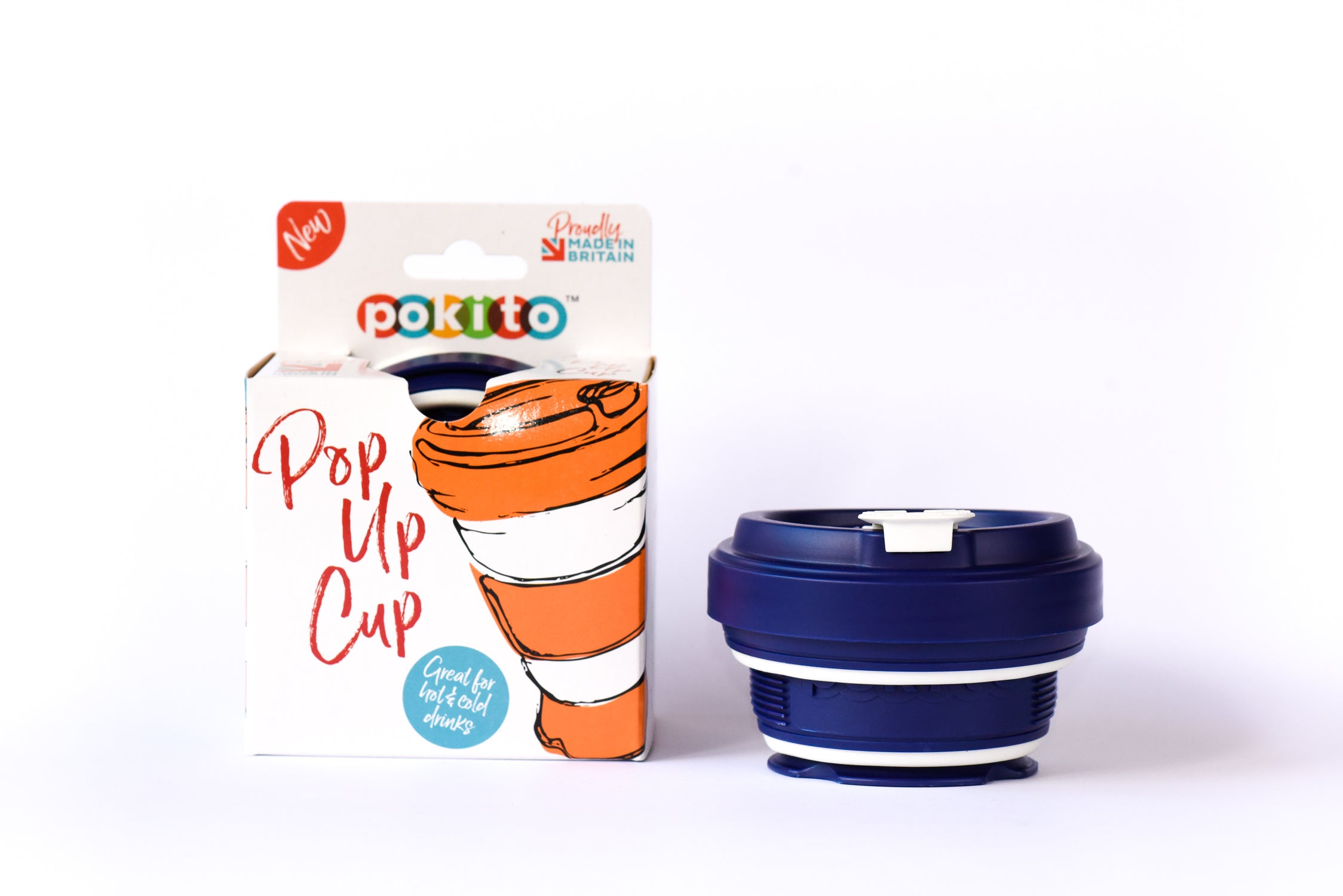 Blue Pokito Cup. Collapsible Cup. Folded Flat.