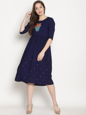 Blue Gathered Dress With Embroidery on Chest and Hem | UNTUNG
