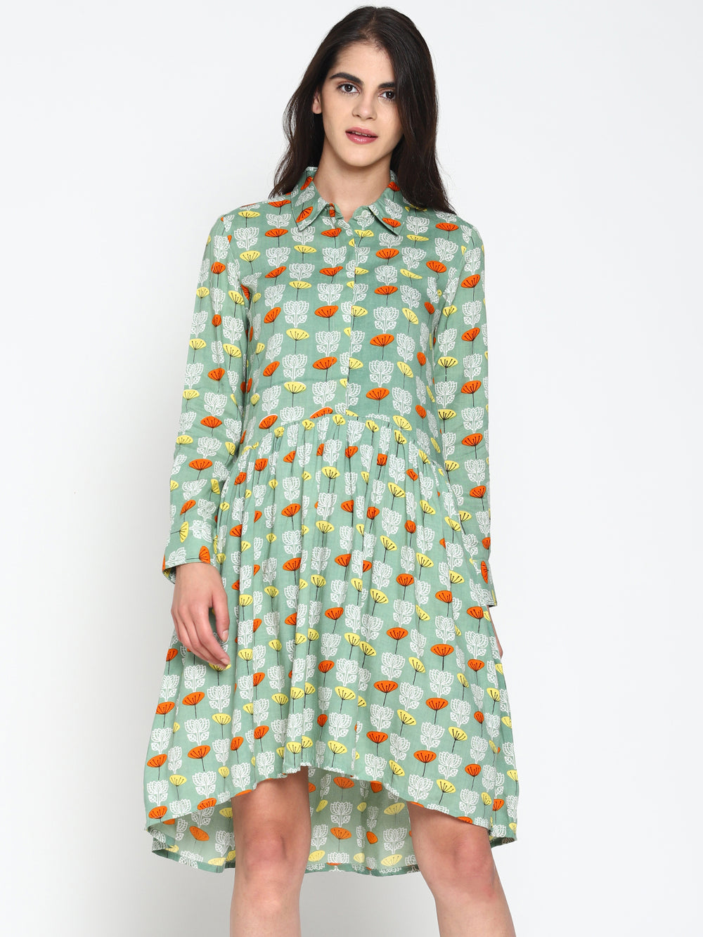 Green Printed Drop Waist Dress | Untung