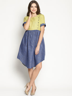 Yellow and Blue Dobby Shift Dress with Curved Hem | UNTUNG