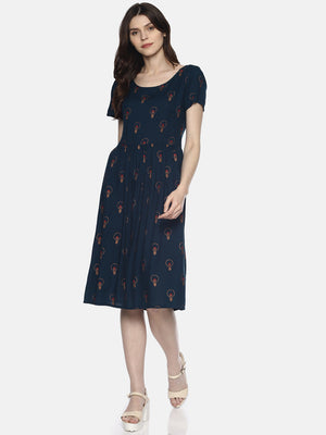 Teal Bulb Print Dress With Back Tieups | UNTUNG