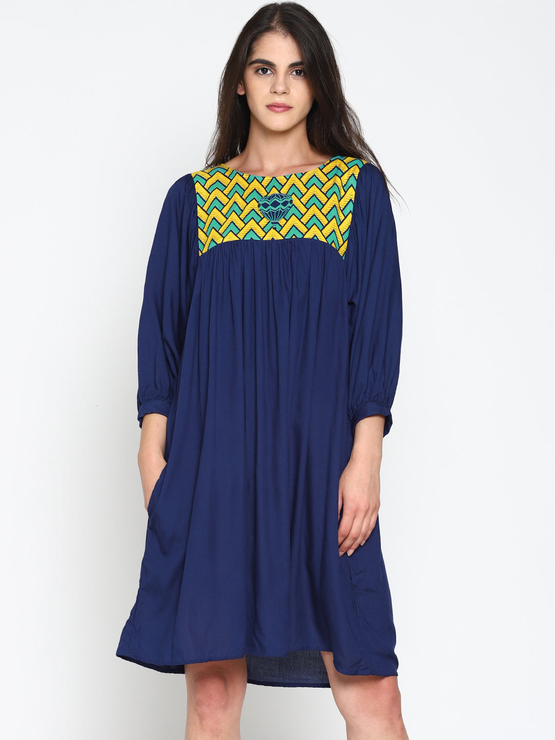 Blue Gathered Dress With Printed Yoke | Untung