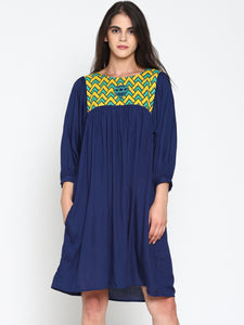 Gathered Dress with Printed Yoke