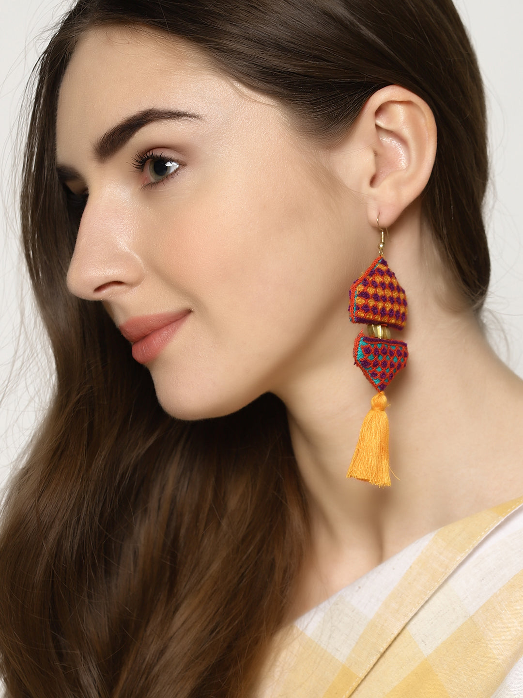 Hand Embroidered earrings with tassel | Untung