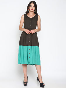 Front Open Color Block Dress | UNTUNG